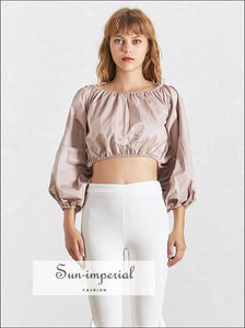 Snow White top in White-  satin Backless Crop top Long Sleeve Blouse Lantern Puffed Sleeve