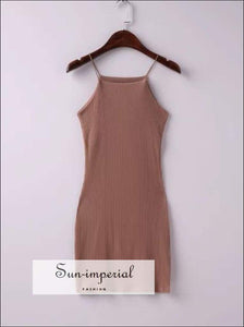 Soft Cotton Thread Elastic Cami Strap One-piece Dress Basic Bodycon Dress Female