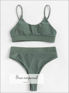Solid Color Beach Swimwear Fashion Two-piece High Waist Bikini Set Push-up Bra thin Rope Strap