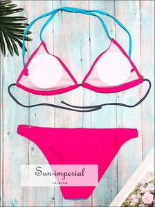 Solid Color Beach Swimwear Quick-drying Fashion Two-piece Strap Bikini Push-up Bra Low-necked SUN-IMPERIAL United States