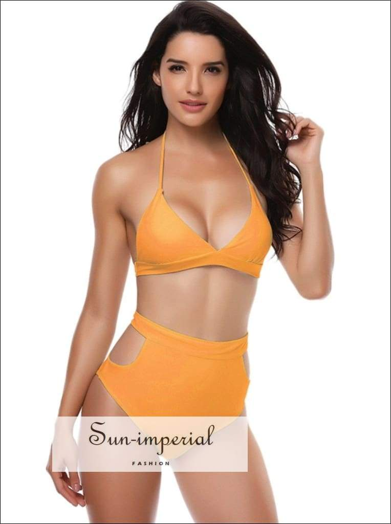 Solid Color Hollow Beach Swimwear Split Bikini Set High Waist Push-up Bra Backless Sports Swimsuit SUN-IMPERIAL United States