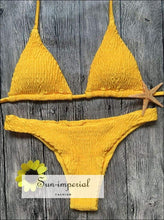 Solid Color Yellow Swimsuit Two-piece Vitality Low Waist Bikini Push-up Bra Straps Swimwear Set
