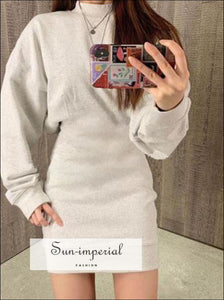 Solid Drey Simple Casual Women Long Sleeve O-neck Slim Mini Dress Basic style, casual chick sexy style SUN-IMPERIAL United States