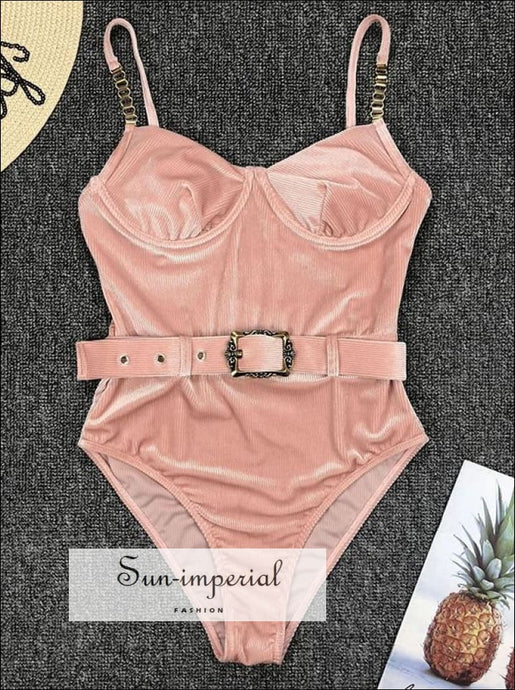 Solid One Piece Swimsuit with Buckle Belt Backless - Multi Colors 2 piece, piece set, backless, coulurfull, cut out SUN-IMPERIAL United