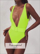 Solid One Piece Swimsuit with Buckle Belt Backless - Multi Colors SUN-IMPERIAL United States