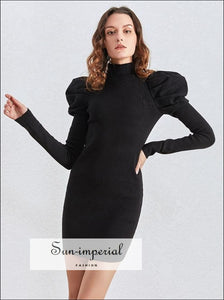 Solid Ribbed Black Dress with Shoulder Ruched Puff Long Sleeve Bodycon Turtleneck Mini CASUAL DRESS, ELEGANT STYLE, PARTY Unique style