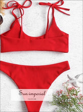 Solid Ribbed Swimsuit Bikini Swimwear SUN-IMPERIAL United States