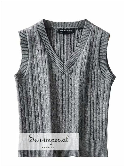 Solid White V Neck Women Sleeveless Vest Sweater Knitted Tank BASIC, Basic style, Casual, casual street style SUN-IMPERIAL United States