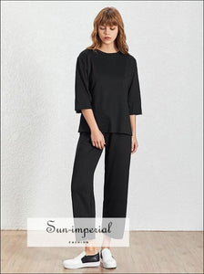 Somerville Pants Set - Women Basic 2 Piece Pant O Neck 3/4 Sleeve Loose T-shirt High Waist Wide Casual Suit, Leg Pants, Neck, Short Sleeve,