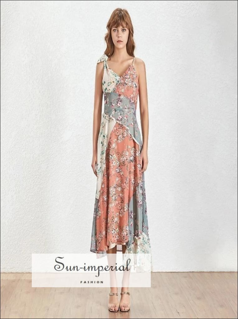 St. Louis Dress - Patchwork Print Dresses Female Women V Neck Sleeveless High Waist Long Asymmetrical Dress For Women 2019 Summer