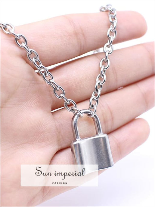 Stainless Steel Silver Color Padlock Pendant Necklaces Chain Lock Necklaces Collar