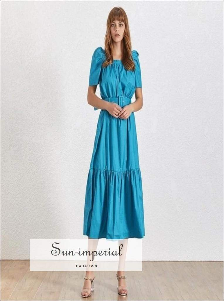 Stephanie Dress- Summer Solid Women Dress Square Collar Puff Sleeve High Waist with Midi Sleeve, Sashes Dresses, Dress, Collar, vintage