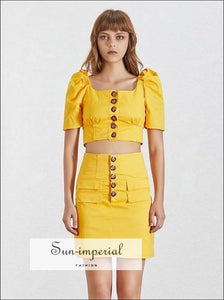 Sun-Imperial Stranger Things Skirt Set - Solid Black and Yellow Women Two Piece Mini Skirt Set Square Collar Puff