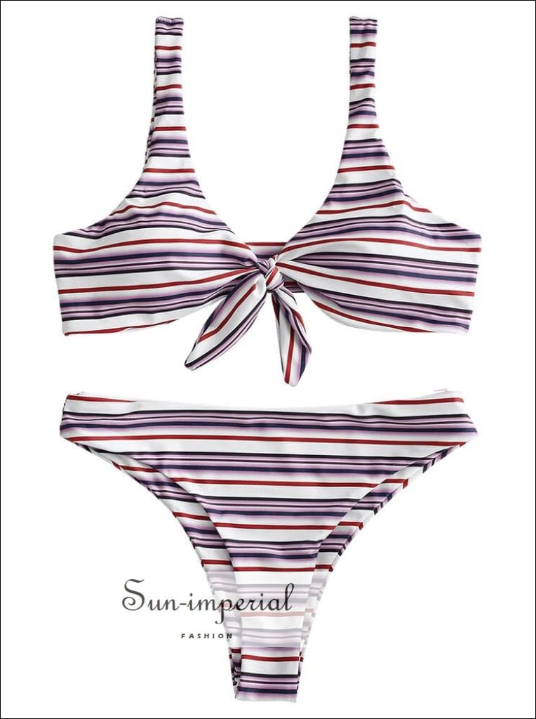 Striped Bikini front Knotted Swimwear Padded Swimsuit Women White and Red Bathing Suit Spaghetti