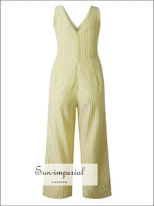 Striped Button Pocket Deep V neck Wide Leg Jumpsuits For Wome SUN-IMPERIAL United States