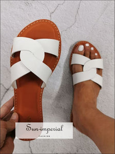 Summer Slides Beach Slippers White Women Sandals SUN-IMPERIAL United States