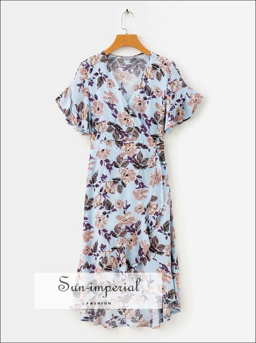 Summer Warp Purple Floral Print Dress Casual Midi Dress