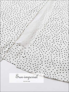 Summer White Dot Vintage Square Collar Ruffle Decor Midi Dress collar, dot, dot print, dress, High quality dress SUN-IMPERIAL United States