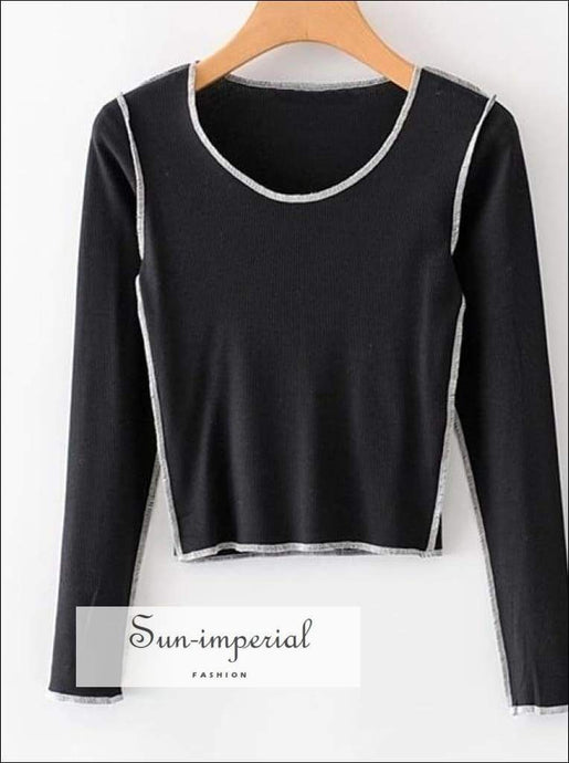 Sun-imperial Autumn Black Long Sleeve Blouse O-neck Knitted Shirts Elastic Short Tops Blusas