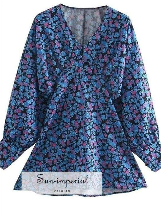 Sun-imperial Autumn Blue Floral Dress Women Lantern Sleeve Mini Dress V-neck Long Sleeve Fashion