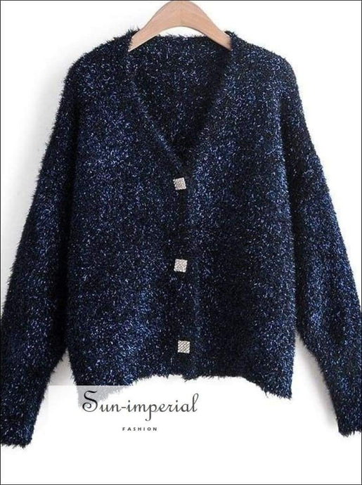 Sun-imperial Autumn Winter Fashion Women Sweaters Long Sleeve V-neck Buttoned Cardigan Open Stitch