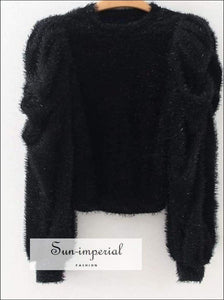 Sun-imperial Autumn Women Faux Fur Black Blouse Puff Sleeve O-neck Warm Tops Fashion Solid Color