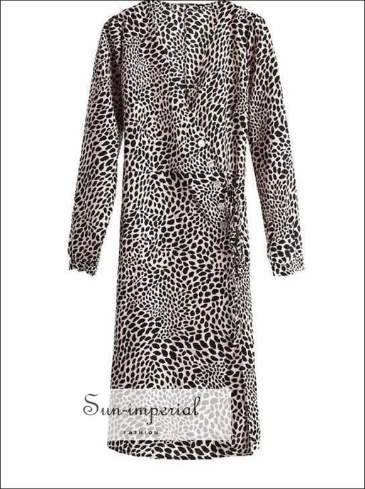 Sun-imperial Autumn Women Long Sleeve Midi Dress Leopard Wrap Fashion Womens Dresses Bodycon SUN-IMPERIAL United States