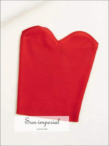 Sun-imperial Basic Sweetheart Neckline Knitted Rib Bandeau top High Street Fashion