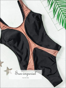 Sun-imperial Beach Semi Sheer Women Swimsuit Summer O Neck Triangle Contrast Swimwear Bathing SUN-IMPERIAL United States