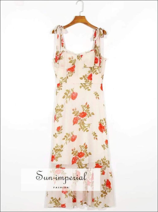 Sun-imperial Beige Flower Print Tie Bow Cami Strap Long Dress Vintage Women Wood Ear V Neck Ruched