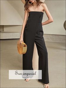 Sun-imperial Black Elegant Strapless Women High Waist Jumpsuit Wide Leg Tube Maxi Romper black wide leg jumpsuit, elegant style, Unique
