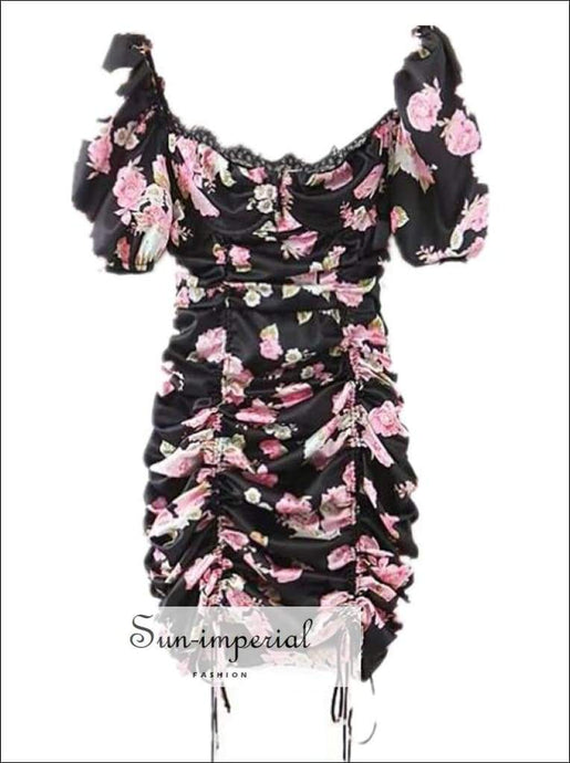 Sun- Imperial Black Floral Print Short Puff Sleeve Mini Dress Satin Lace Decor V Neck Ruched Bust