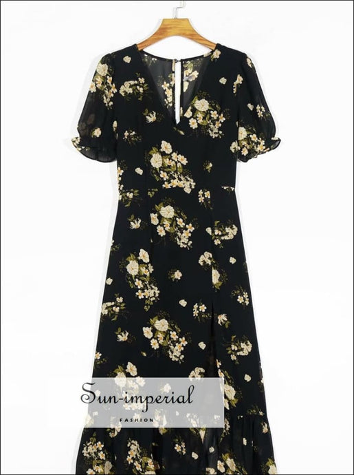 Sun-imperial Black Floral Vintage Dress Short Flare Sleeve Maxi with front Split SUN-IMPERIAL United States