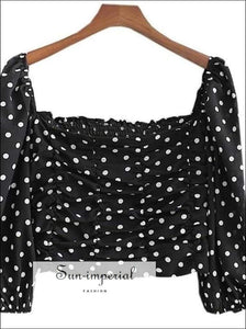 Sun-imperial Black Polka White Dot Blouse Square Neck Draped Long Sleeve Crop top SUN-IMPERIAL United States