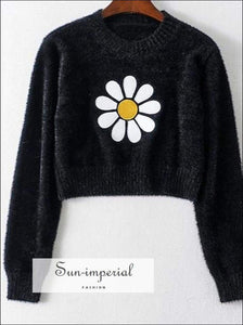 Sun-imperial Black Sweater Women Floral Embroidery O-neck Jumpers Pullovers Fashion Sweaters