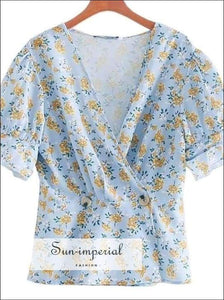 Sun-imperial Blue Floral Blouse Women V Neck Elegant Ladies Tops Summer top Fashion Print Shirts