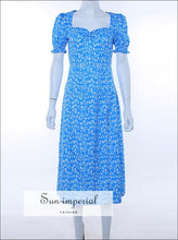 Sun-imperial Blue Flower Puff Short Sleeve Split Midi Dress