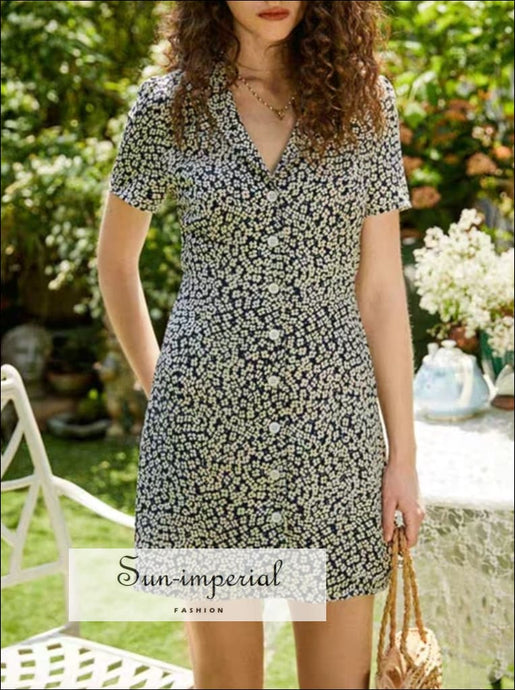Sun-imperial Blue Flowers Print Short Sleeve Mini Dress Buttoned Summer blue, dress, floral outfit, print, flower print SUN-IMPERIAL United