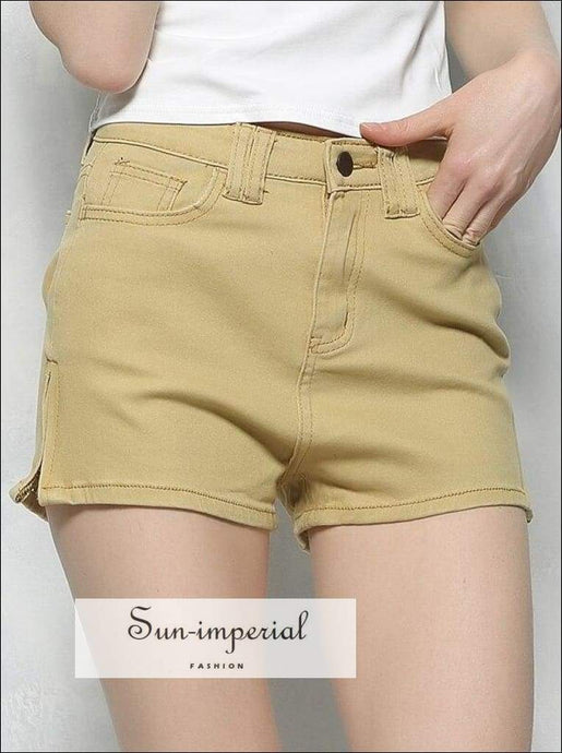 Sun-imperial Brand Design Fashion Female High Waist side Zipper Straight Solid Color Water Wash SUN-IMPERIAL United States