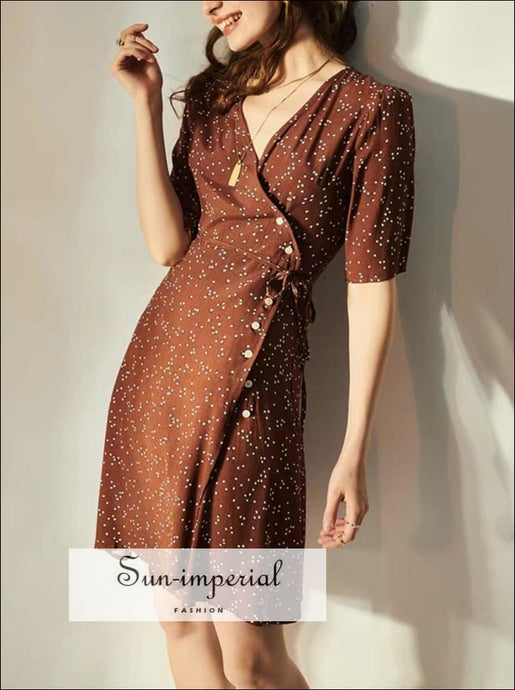Sun-imperial Brown Dot Print Vintage Dress side Buttons Eu brown, dot, dot print, dress, High quality dress SUN-IMPERIAL United States