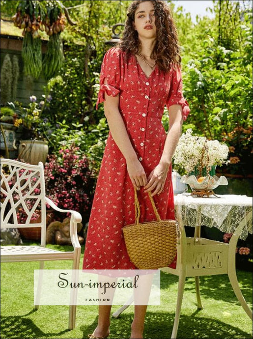Sun-imperial Buttoned Red Flower Print Vintage Midi Dress Short Sleeve