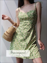 Sun-imperial Cami Strap Woman Dresses Foral Print back Elastic Slim Green Summer Dress Girls