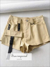 Sun-imperial Casual Cargo Shorts with Buckle and Utility Pockets detail High Street Fashion
