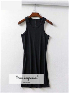 Sun-imperial Casual Cotton Women Dress Sleeveless O Neck Solid Summer Dresses Style SUN-IMPERIAL United States