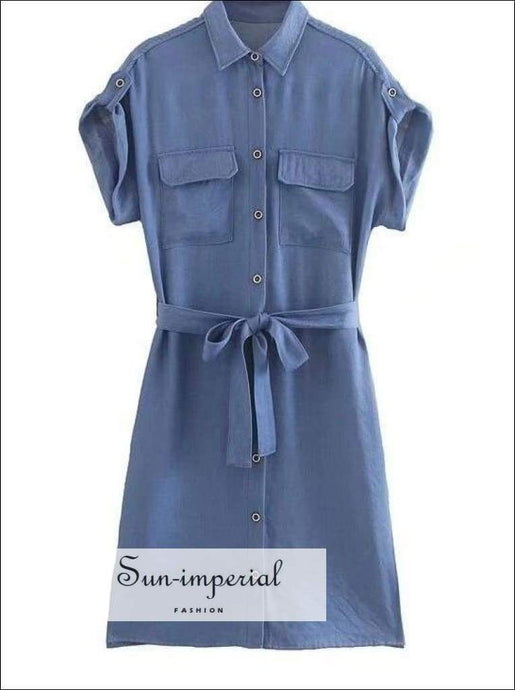 Sun-imperial Casual Denim Women Dress with Pockets Short Sleeve Work Office Ladies Summer Dresses