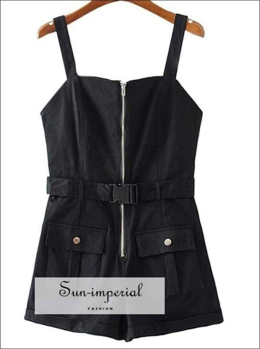 Sun-imperial Casual Women Playsuits Summer Short Jumpsuits with Pocket Rompers Overalls Mono Mujer SUN-IMPERIAL United States