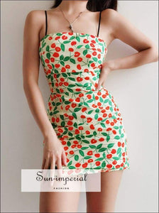 Sun-imperial Cherry Print Cami Mini Dress Square Neck Bodycon High Street Fashion SUN-IMPERIAL United States