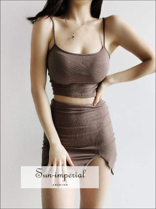 Sun-imperial Co-ord Slim Rib Camis top with Split front Ribbed Mini Skirt High Street Fashion