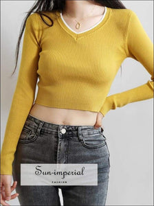 Sun-imperial Contrast Colors V-neck Long Sleeve Ribbed Sweater Fitted Crop Knit Pullover High Street