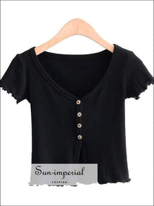 Sun-imperial Deep V Neck Button through Rib T-shirt with Lettuce Trimming Sexy Crop top High Street